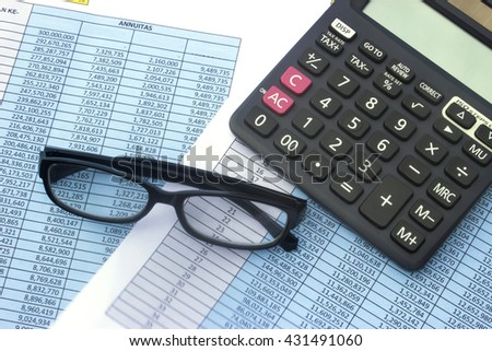calculator with paper work background