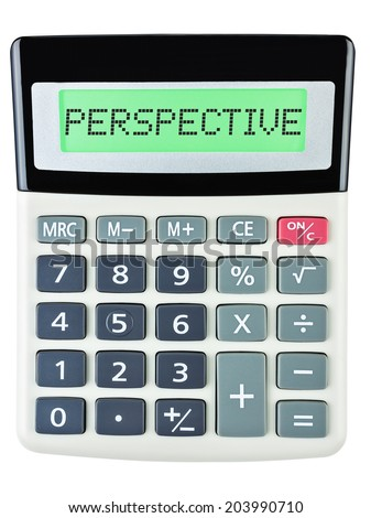 Calculator with PERSPECTIVE on display isolated on white background - stock photo