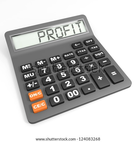 Calculator with profit on display  on white background. - stock photo