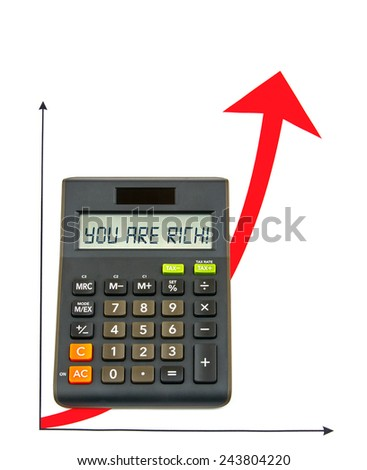 Calculator with red ascending arrow - stock photo