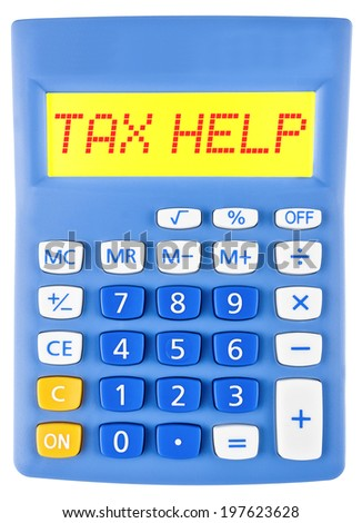 Calculator with TAX HELP on display on white background - stock photo