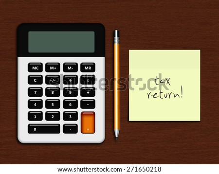 calculator with tax return note lying on wooden desk - stock photo