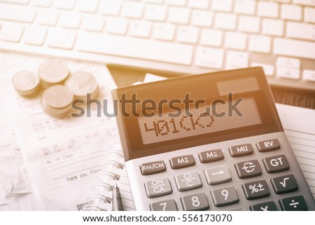 Calculator Text K Calculator Currency Book Stock Photo Royalty