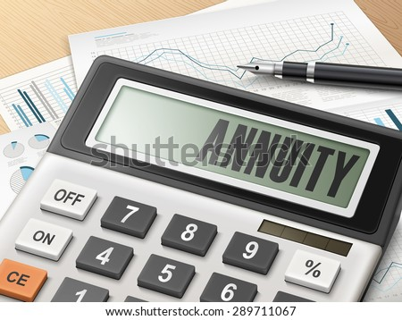 calculator with the word annuity on the display