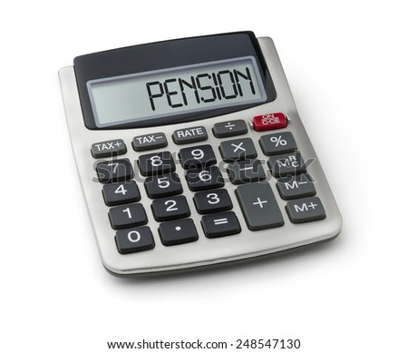 Calculator with the word pension on the display - stock photo