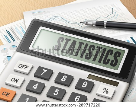 calculator with the word statistics on the display - stock photo