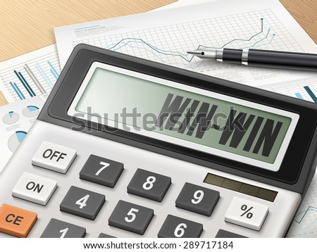 calculator with the word win-win on the display