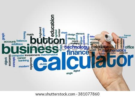 Calculator Word Cloud Concept Finance Mathematics Stock Photo ...