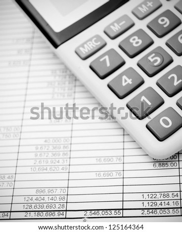 Calculators and documents. - stock photo