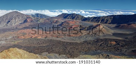 Caldera of the Haleakala volcano  Maui, Hawaii  - HDR Panoramic view - stock photo
