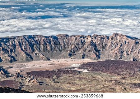 caldera of the volcano Teide - stock photo