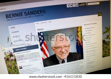 CALDWELL, IDAHO/USA - MAY 5, 2016: Senate webpage showing the Vermont senator and democrat contenders about page - stock photo