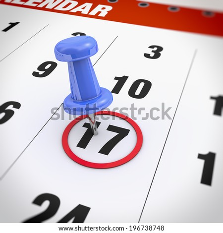 Calendar and blue pushpin. Mark on the calendar at 17 - stock photo