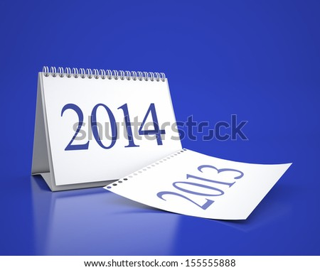 calendar 2013 and 2014 in blue background - stock photo