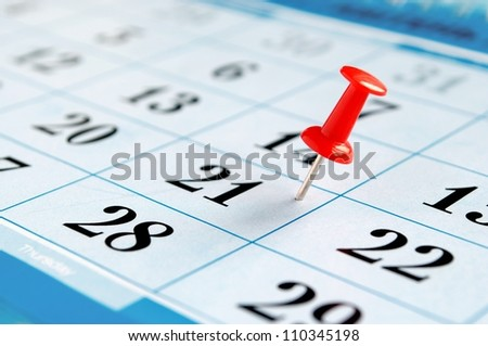 calendar and marked the date the pushpin - stock photo