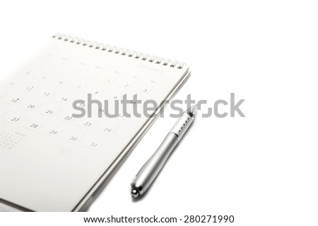 calendar and pen isolated on white background - stock photo