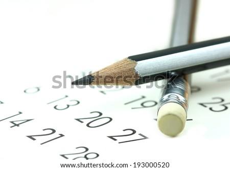calendar and pencil - stock photo
