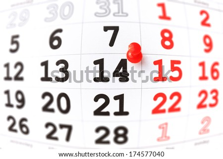 Calendar and red pushpin on 14 February. Valentine's day concept - stock photo