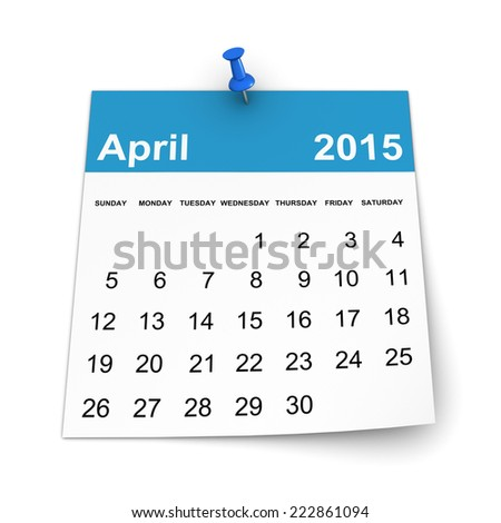 Calendar 2015 - April - stock photo