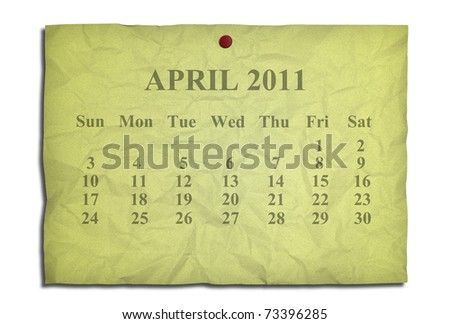 Calendar april 2011 on old Crumpled paper - stock photo