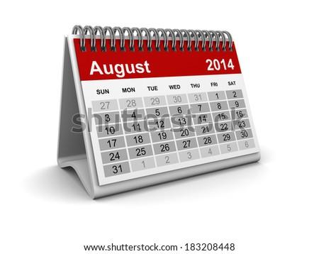Calendar 2014 - August - stock photo