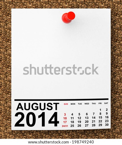 Calendar August 2014 on blank note paper with free space for your text - stock photo