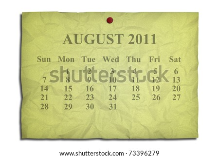 Calendar august 2011 on old Crumpled paper - stock photo