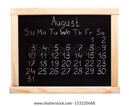 Calendar 2014. August. Written on a blackboard