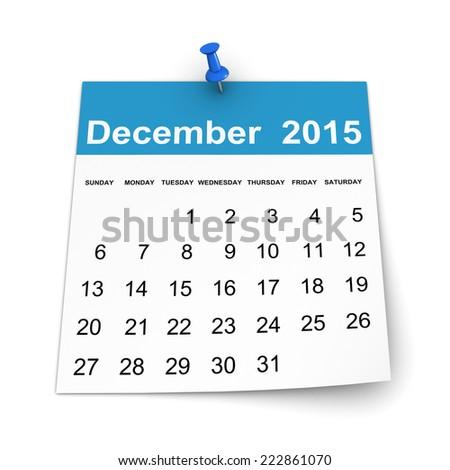 Calendar 2015 - December - stock photo