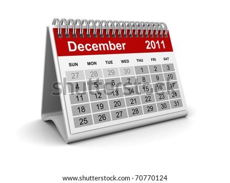 Calendar 2011 - December - stock photo