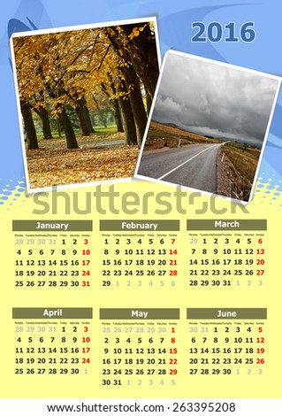Calendar design nature for year 2016 - stock photo