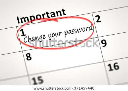 calendar detail shows change your password every month - stock photo