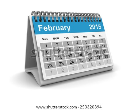Calendar 2015 - February - stock photo