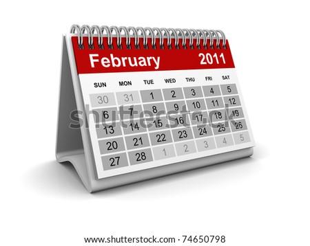 Calendar 2011 - February - stock photo