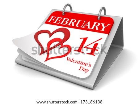 Calendar -  14 february  (clipping path included) - stock photo
