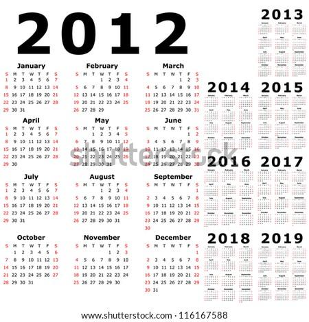 Calendar for 2012, 2013, 2014, 2015, 2016, 2017, 2018, 2019 - stock photo