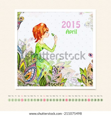 Calendar for april 2015 with girl, watercolor painting - stock photo