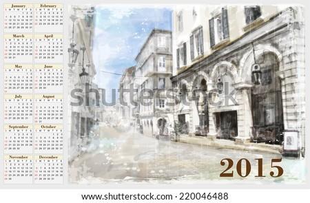 calendar for 2015. Cityscape. Vintage style. - stock photo