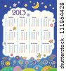 Calendar for 2013. Cloud in the night sky. Children applique flowers. Week starts on Monday. raster version - stock vector