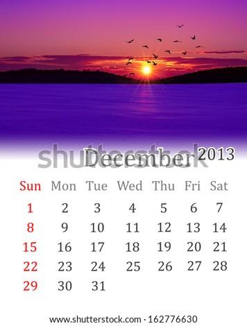 Calendar for December 2013  - stock photo