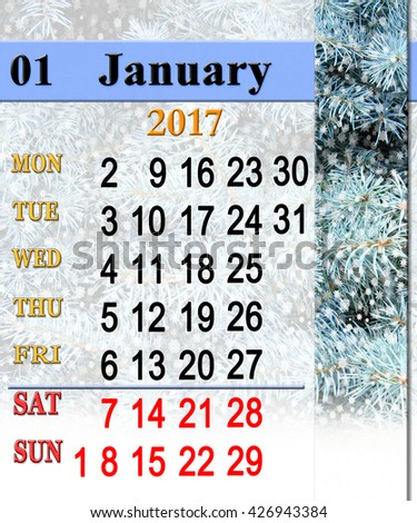 calendar for January 2017 with New Year's tree and snowfall - stock photo