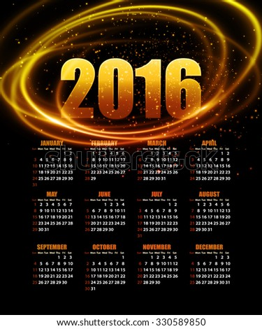Calendar for 2016 on abstract background. illustration EPS 10