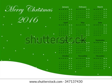 Calendar for the year 2016.  All 12 months - stock photo