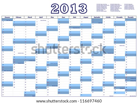 Calendar for 2013 with federal holidays U.S.A. - stock photo