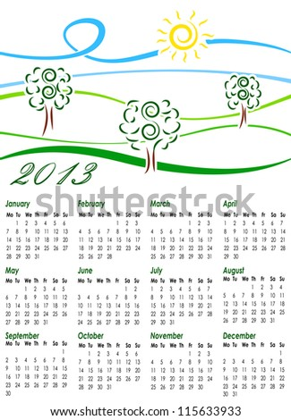 Calendar for 2013 with illustration of summer landscape