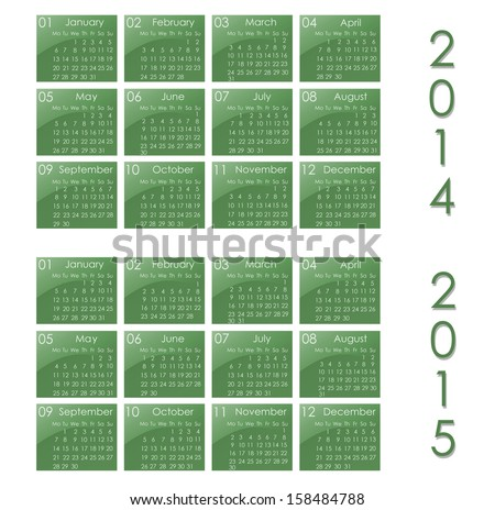 calendar for year 2014 and 2015 - stock photo