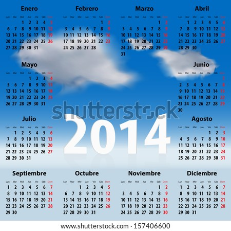 Calendar for 2014 year in Spanish with clouds in the blue sky. Mondays first