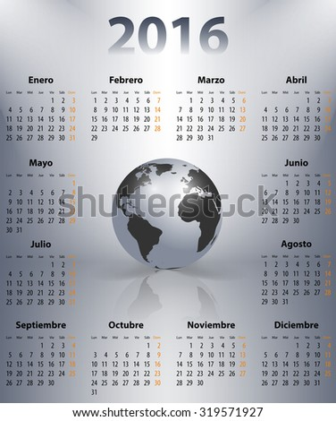 Calendar for 2016 year in Spanish with the world globe in a spots. Mondays first.