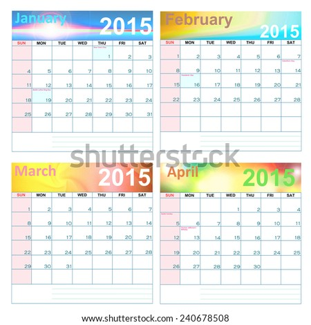 Calendar for year 2015  January-April   (United States)-Holidays and Observances: - stock photo