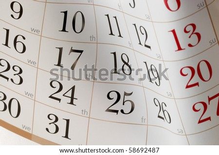 Calendar fragment shaped sheet in funny angle background - stock photo